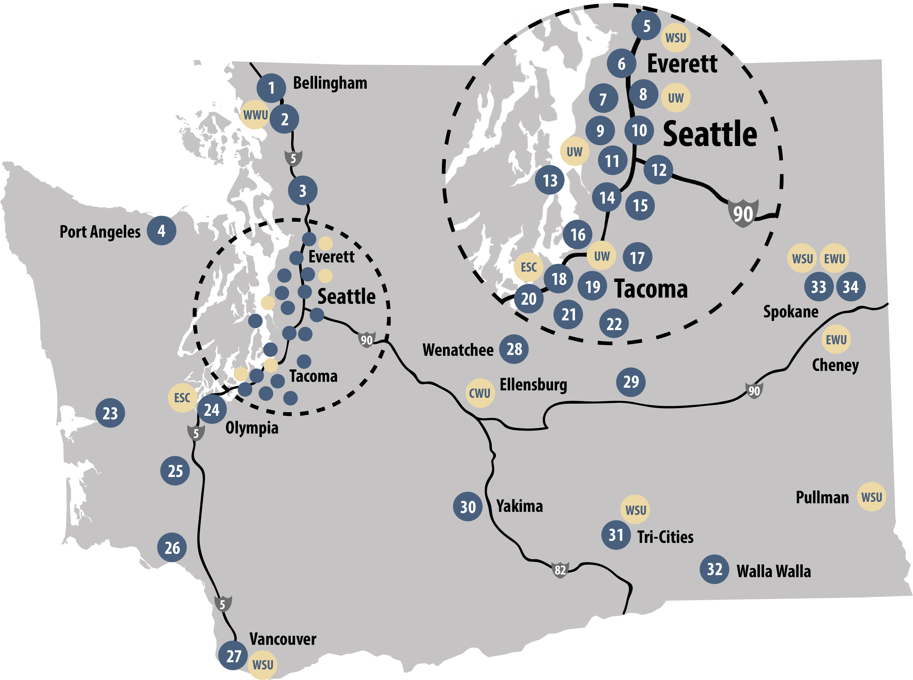 Map of Washington's 6 universities and 34 community and technical colleges