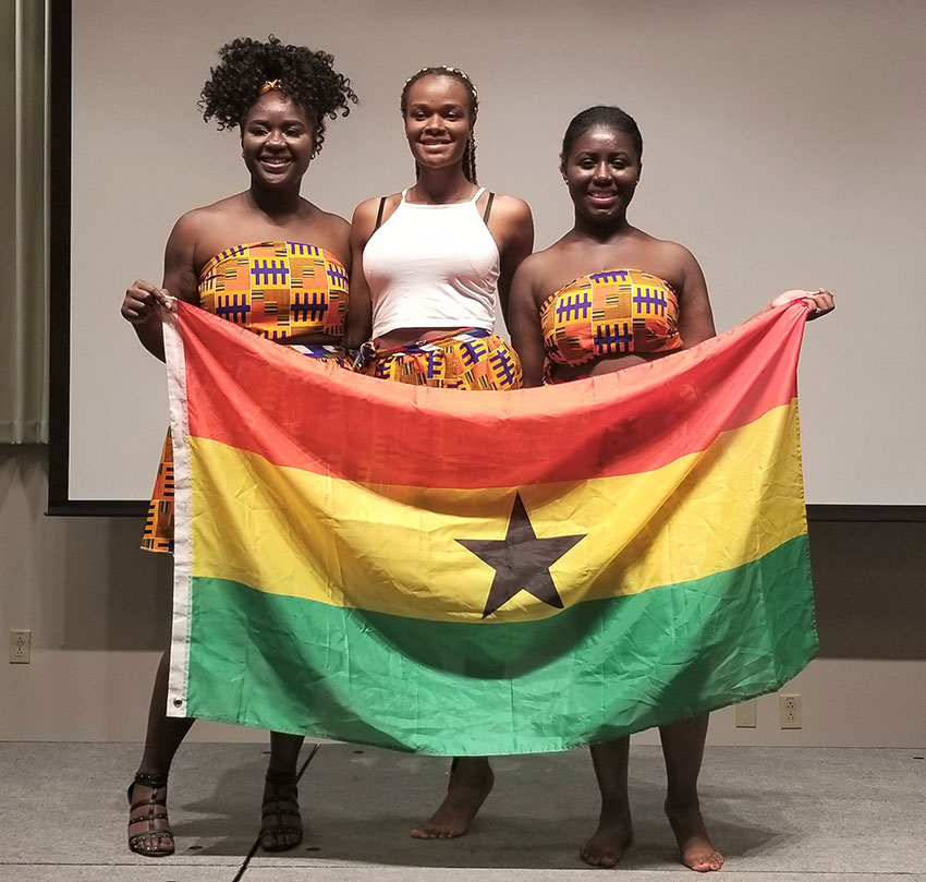 Ewurama Karikari with classmates at the 2018 Afro Caribbean Night